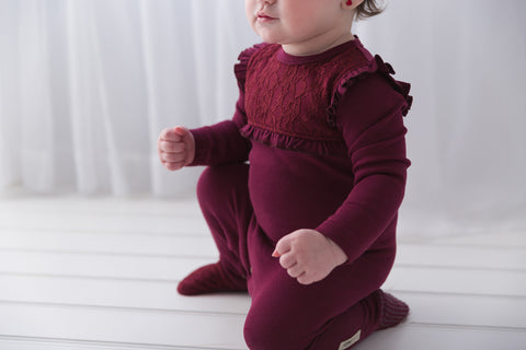Footed Cranberry Lace Overall