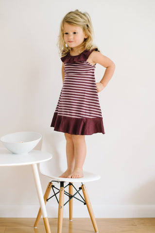 Stripe-A-Pose- Ruffle Dress Lavender/Eggplant