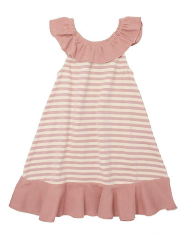 Stripe-A-Pose- Ruffle Dress Mauve/Beige