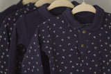 Footed Navy Dots Overall