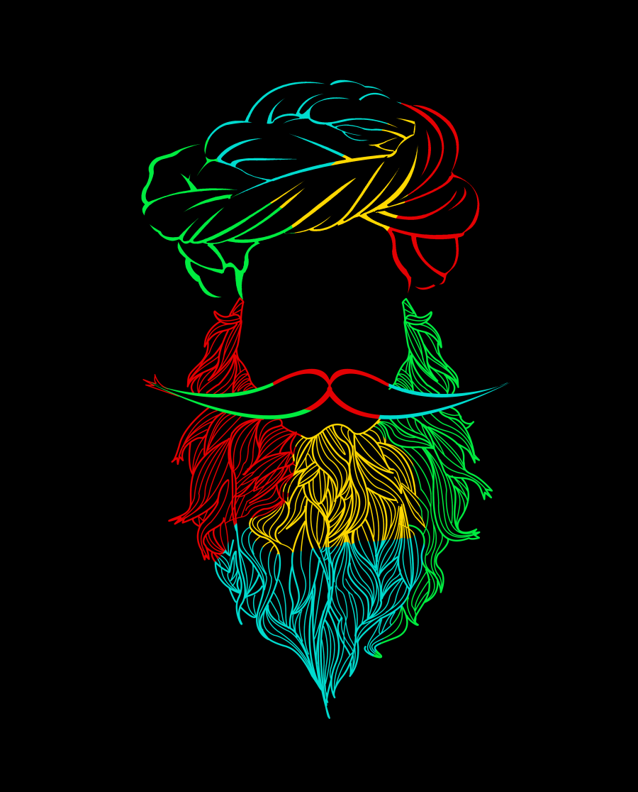 Colorful Beard Tshirt