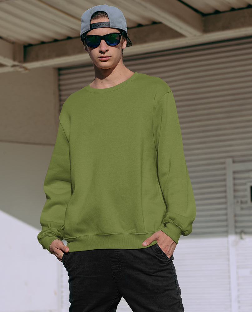 Olive Round Neck Solid Sweatshirt