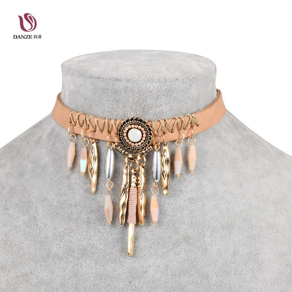 Bohemian Tassel Leather Choker Necklace