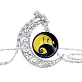 The Nightmare Before Christmas Hollow Moon Glass Chain Necklace