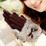 Bow Tie Rabbit Fur Wool Mitten Gloves