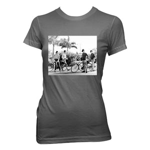 The Beatles Bicycle Group Shot - Womens Coal T-Shirt