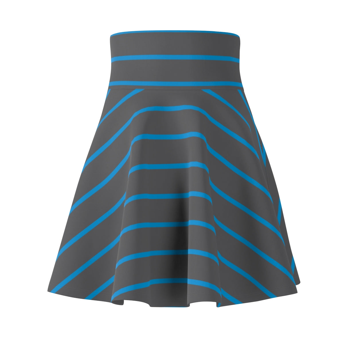 Gray and Blue Women's Skater Skirt