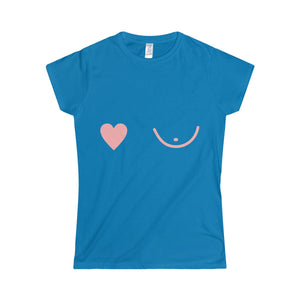 PINK Right Heart Breast Softstyle Women's T-Shirt