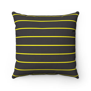 Black and Yellow Spun Polyester Square Pillow