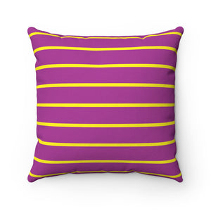 Purple and Yellow Spun Polyester Square Pillow