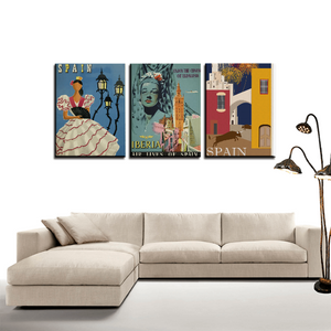 Spain 3 Panels Canvas Prints Wall Art Decoration