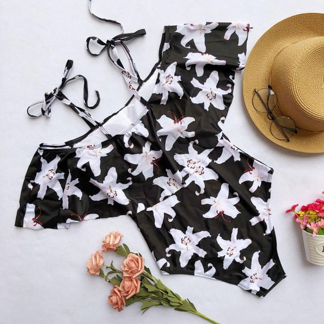 Women Flowers Bikini Set Swimwear Push-Up