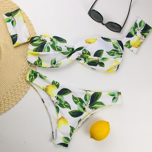 Women Lemons Bikini Set Swimwear Push-Up
