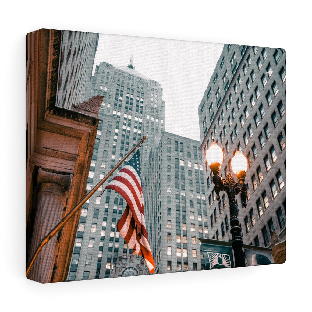 American Flag In The City Canvas