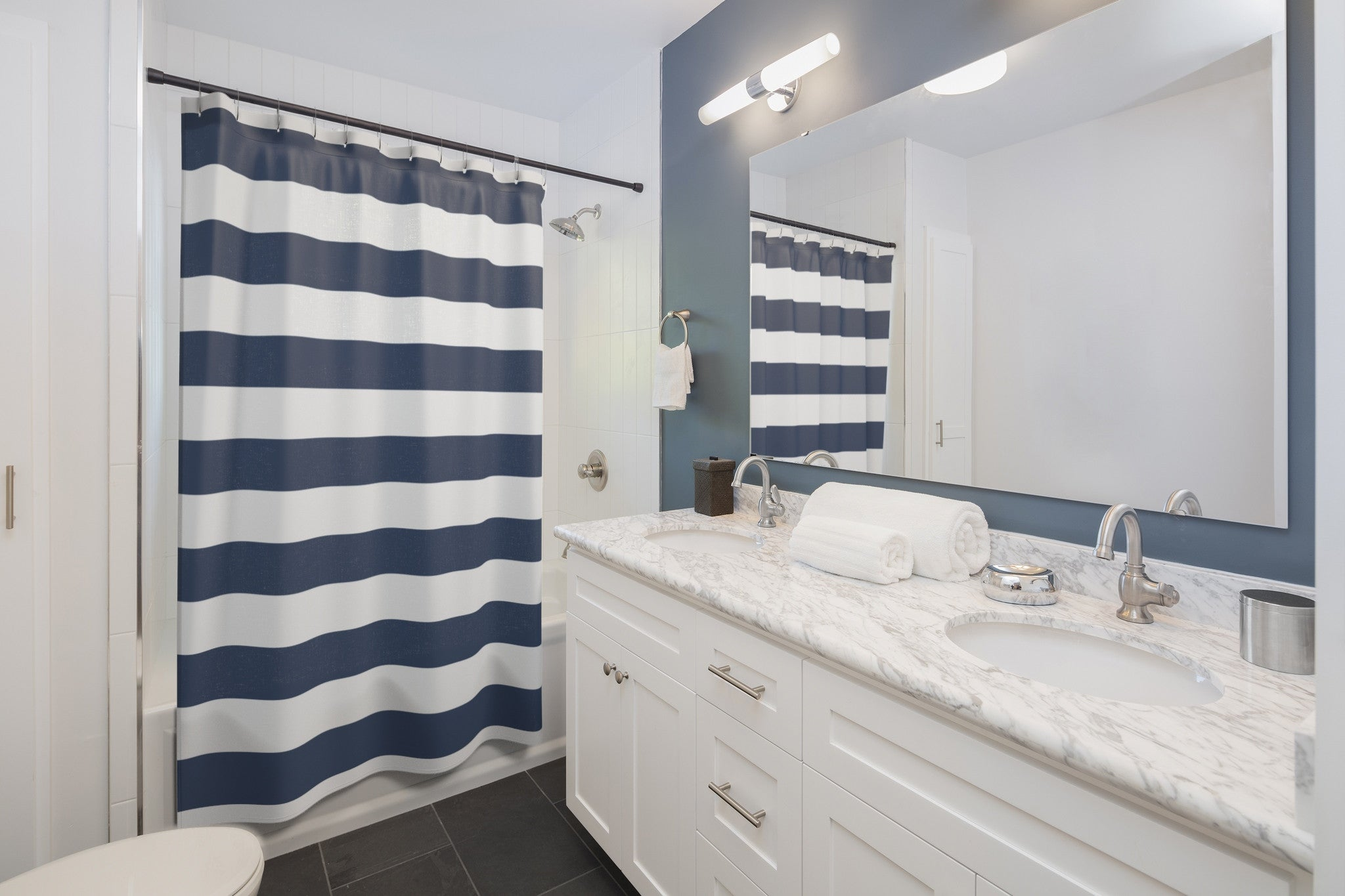 Blue Stripes Shower Curtains