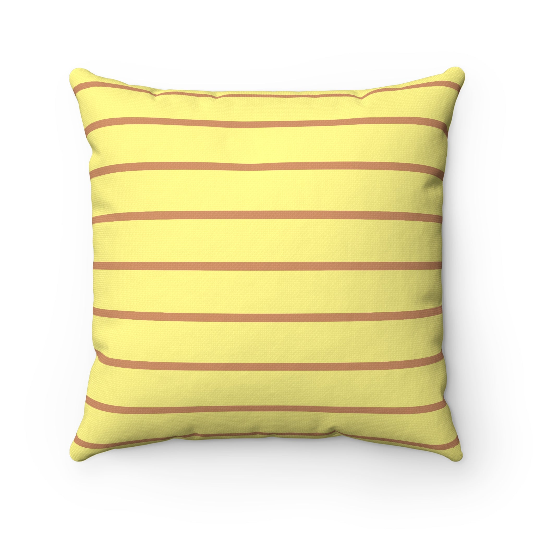 Light Yellow and Red Brown Spun Polyester Square Pillow