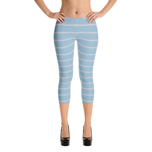 Light Blue and Light Gray Capri Leggings