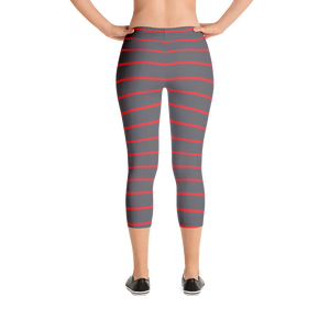 Gray Red Capri Leggings