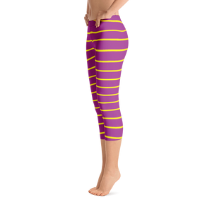 Purple Yellow Capri Leggings