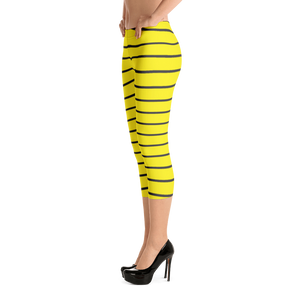 Yellow and Black Capri Leggings