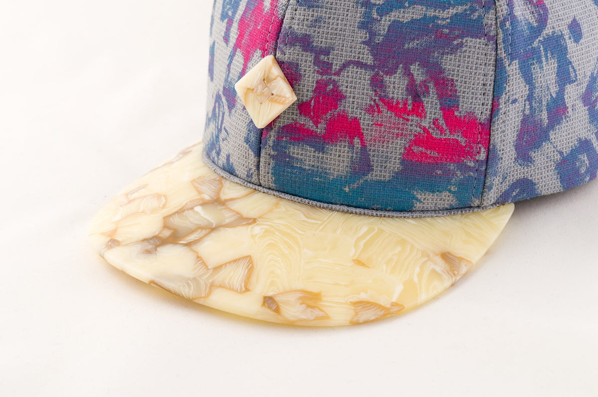 6 panel snapback hat with cellulose acetate brim