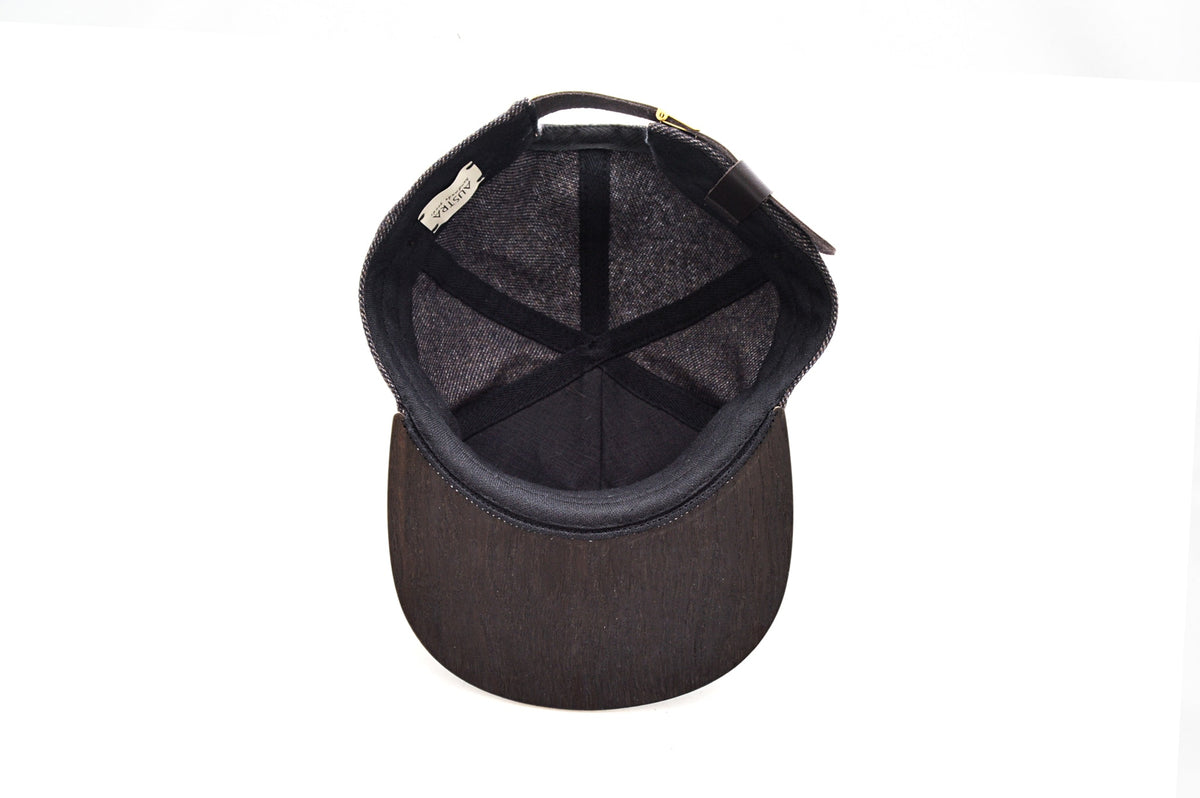 Snapback hat with Smoked Oak wood brim