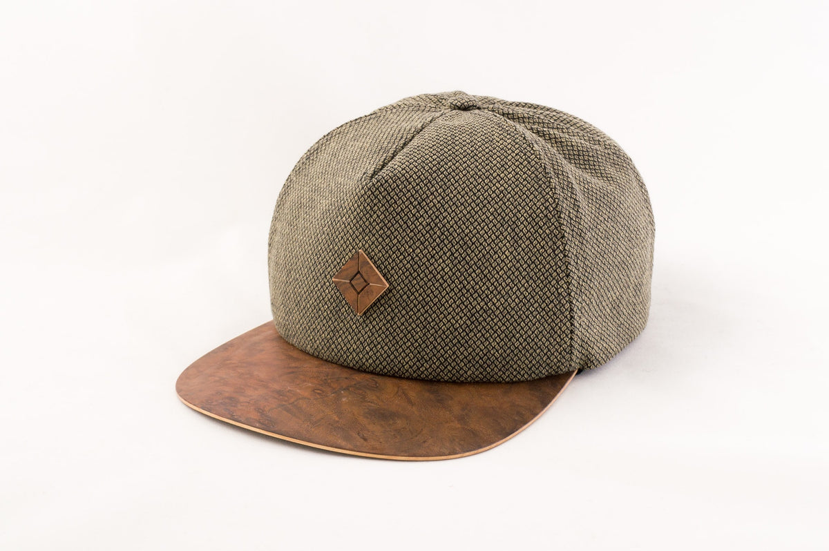 wood brim 5 panel hat