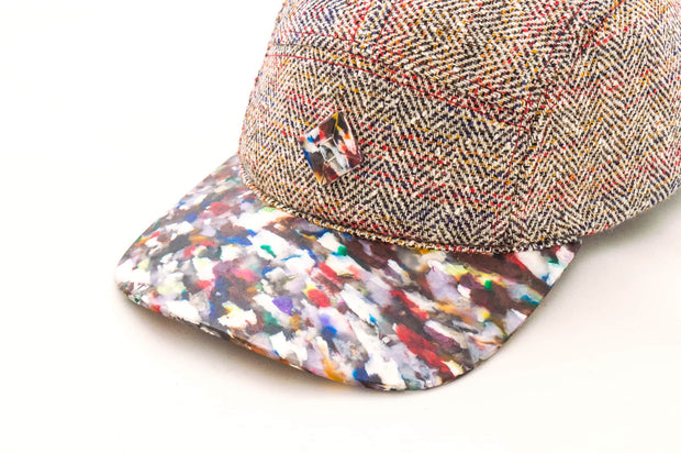 5 panel hat with Recycled PET plastic brim