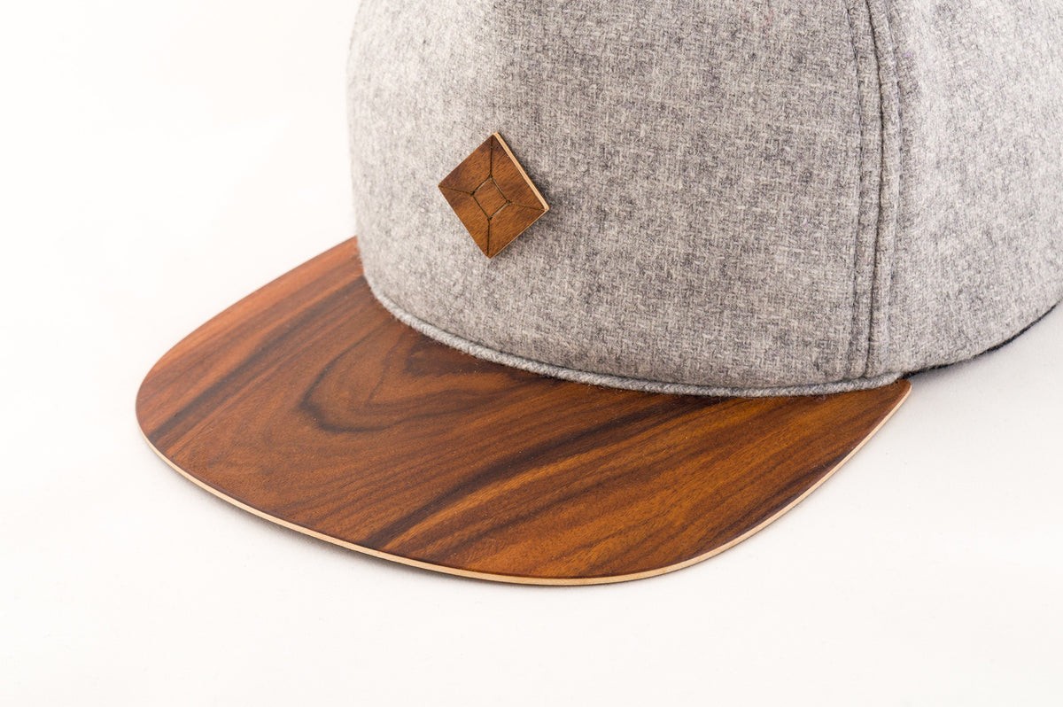 wood brim snapback hat by AUSTRA