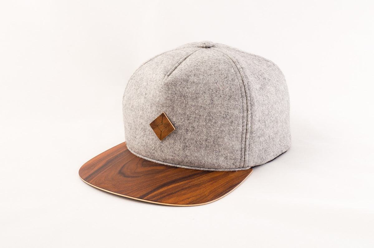 snapback hat with wood brim handmade by AUSTRA