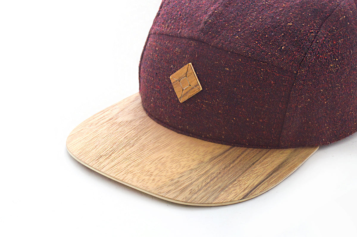 Red 5 panel hat with Limba wood brim