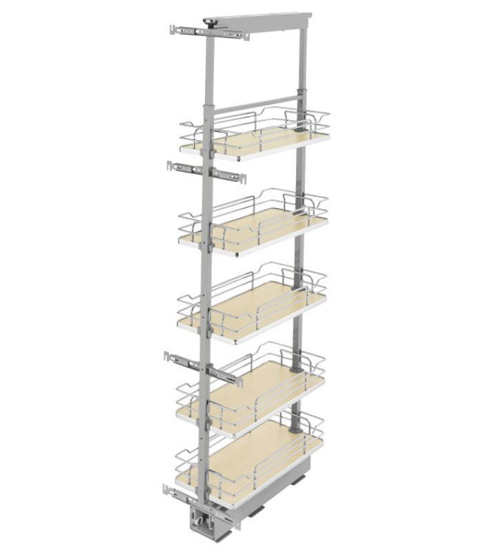 "Rev-A-Shelf 5300 Series Solid Bottom Pantry Pullout - 8-1/2"" - Maple - 5373-08-MP"