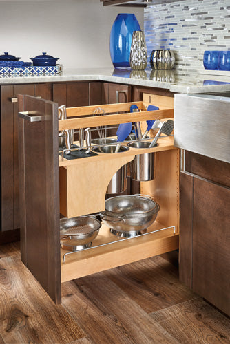 "Rev-A-Shelf 448KB Series Soft-Close Base Cabinet Pullout w/Knife Block & Utensil Bins - 11-3/4"" - 448KB-BCSC-11C"