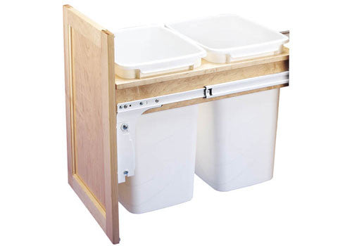 Rev-A-Shelf 4WCTM Series Double 35 Qt Top Mount Trash Pullout - 4WCTM-18DM2-419-FL