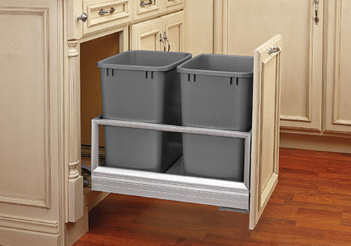 Rev-A-Shelf 5149 Series Double 27 Qt Trash Pullout with Rev-A-Motion - Silver - 5149-1527DM-217