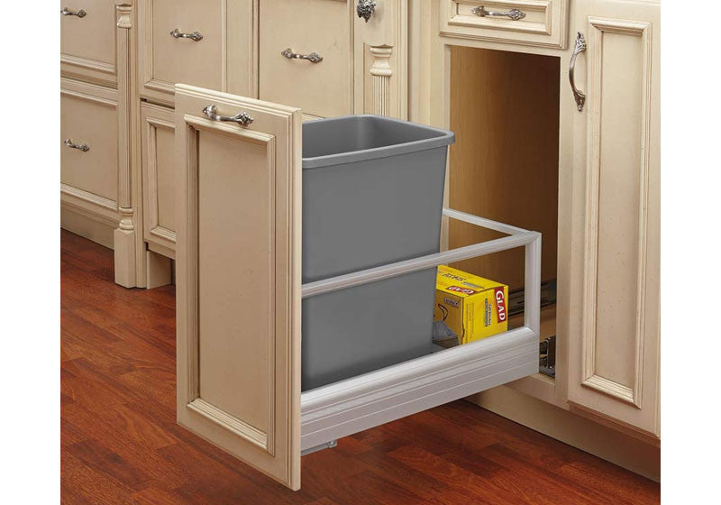 Rev-A-Shelf 5149 Series Single 35 Qt Trash Pullout with Rev-A-Motion - Silver - 5149-15DM-117