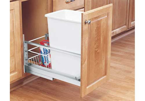 Rev-A-Shelf 5349 Series Single 35 Qt Trash Pullout - White - 5349-15DM18-1