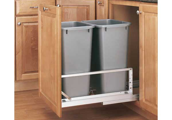 Rev-A-Shelf 5349 Series Double 50 Qt Trash Pullout - Silver - 5349-2150DM-217