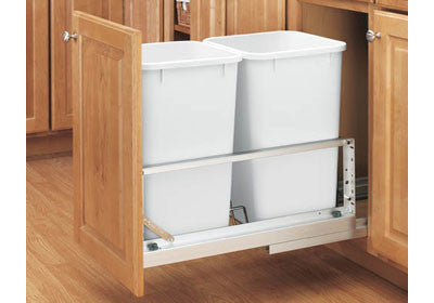 Rev-A-Shelf 5349 Series Double 27 Qt Trash Pullout - White - 5349-1527DM-2