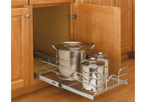 "Rev-A-Shelf 5WB Series 12"" Single Pullout Wire Basket - Chrome - 5WB1-1218-CR"