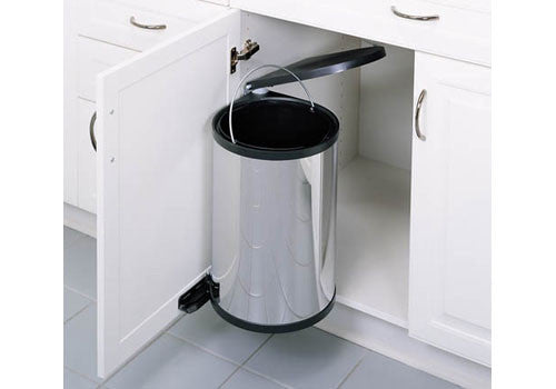 Rev-A-Shelf 8-010 Series Single Round Pivot-out Waste Containers - Stainless Steel - 8-010314-15