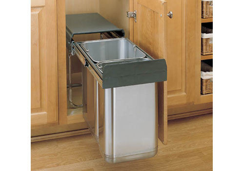 Rev-A-Shelf 8-785 Series Double Bottom Mount Covered Stainless Steel Waste Containers - 8-785-30-2SS