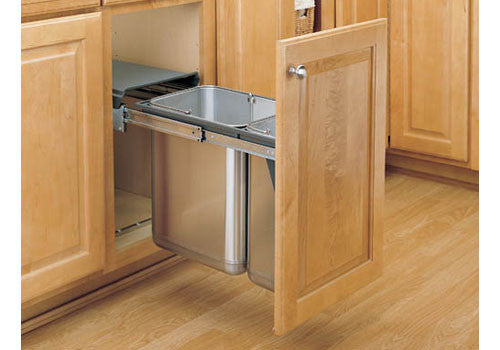 Rev-A-Shelf 8-785 Series Double Door Mount Covered Stainless Steel Waste Containers - 8-785-30-DM2SS