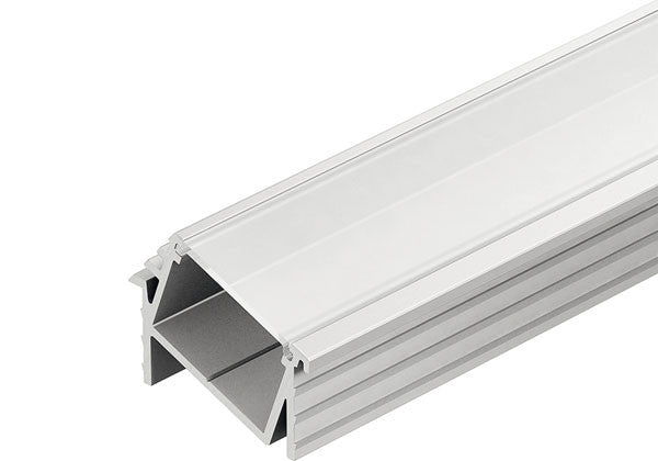 Hafele Loox Recess Angle Mounted Aluminum Profile - Frosted Cover - 833.74.818