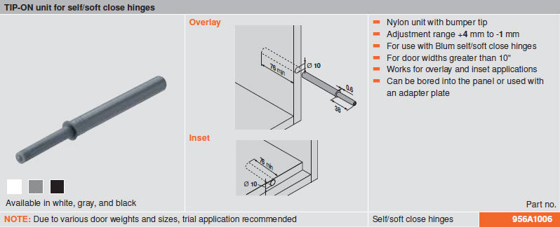 Blum TIP-ON for Self/Soft Close Hinges - Gray - 956A1006