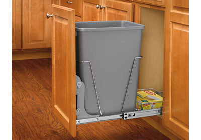 Rev-A-Shelf Single 35 Qt Trash Pullout with Rear Basket - RV-12KD-17C S