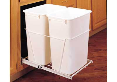 Rev-A-Shelf Double 35 Qt Trash Pullout with Full Extension Slides - RV-18PB-2 S