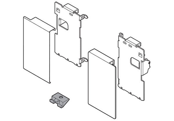 Blum LEGRABOX Interior Roll-out Front Fixing Bracket Set - M Height - Orion Gray - ZI7.0MS0