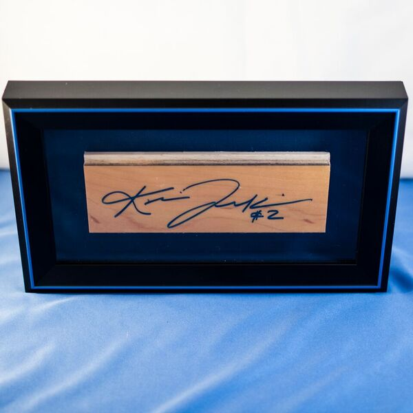 Kris Jenkins Signed Shadow Box with Basketball Court Wood