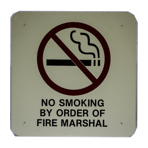 """No Smoking by Order of Fire Marshall"" Stadium Sign"